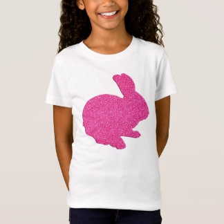 Pink Glitter Silhouette Easter Bunny Shirt