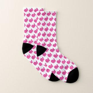 Pink Glitter Silhouette Rabbit Socks 1