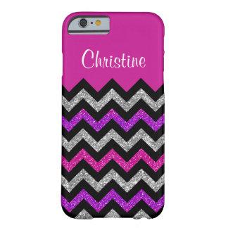 Pink Glitter Silver Black Chevron iPhone 6/6s Case