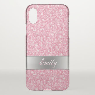 Pink Glitter Silver Gradient Accents iPhone X Case