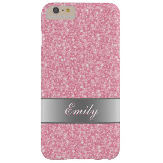 Pink Glitter Silver Gradient Accents Monogram Barely There iPhone 6 Plus Case