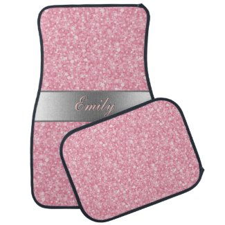 Pink Glitter Silver Gradient Accents Monogram Car Mat