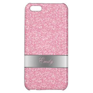 Pink Glitter Silver Gradient Accents Monogram iPhone 5C Cover