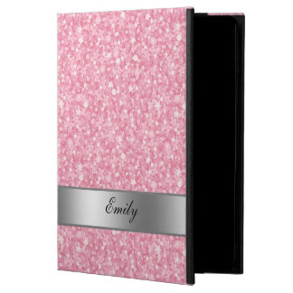 Pink Glitter Silver Gradient Accents Monogram Powis iPad Air 2 Case