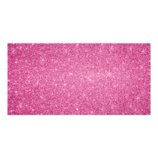 Pink glitter stars custom photo card