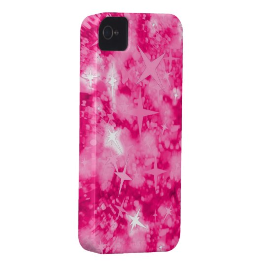 Pink glitter stars iphone 4 barely case