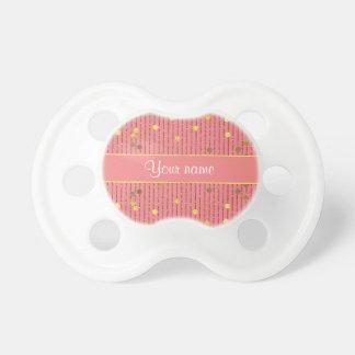 Pink Glitter Stripes Gold Confetti Pacifier