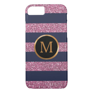 Pink Glitter Stripes, Gold Monogram iPhone 8/7 Case