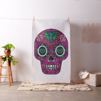 pink glitter sugar skull fabric