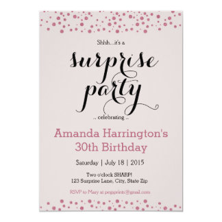 Pink Glitter Surprise Party Invitations