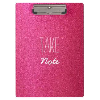 Pink Glitter Take Note Clipboard