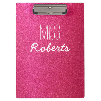 Pink Glitter Teacher (Customisable) Clipboard