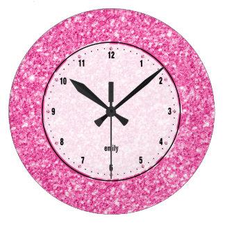 Pink Glitter Texture Print Clocks