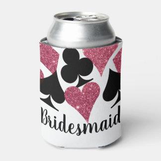 Pink Glitter Vegas Bridesmaid Custom Can Cooler