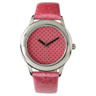 pink glitter watch with red dotted design