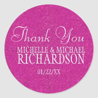 Pink Glitter Wedding Favor Round Sticker