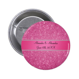 Pink glitter wedding favors 6 cm round badge