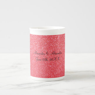 Pink glitter wedding favors bone china mug