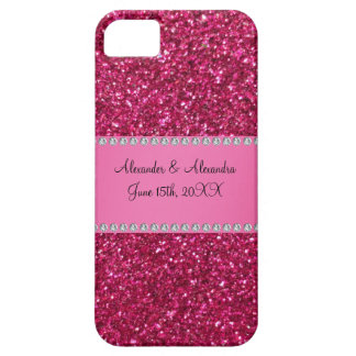 Pink glitter wedding favors iPhone 5 cases