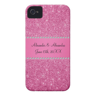 Pink glitter wedding favors iPhone 4 cover