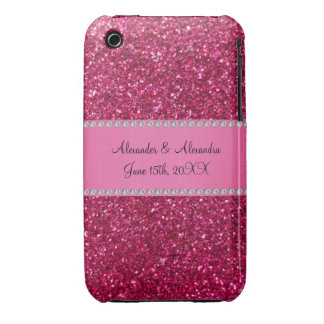 Pink glitter wedding favors iPhone 3 Case-Mate cases