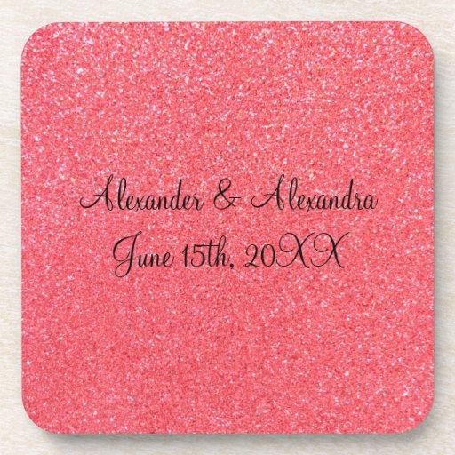 Pink glitter wedding favors drink coasters