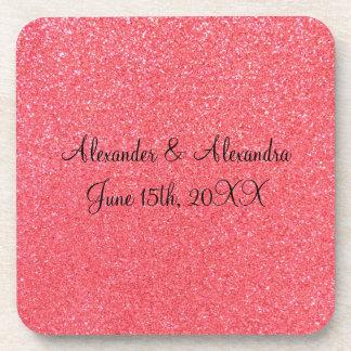 Pink glitter wedding favors drink coaster