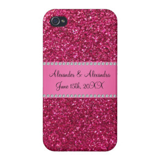 Pink glitter wedding favors iPhone 4 covers