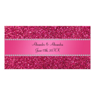 Pink glitter wedding favors photo cards