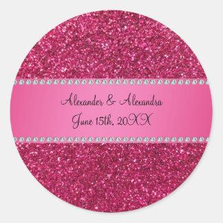 Pink glitter wedding favors round sticker