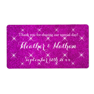 Pink glitter wedding wine or water bottle labels