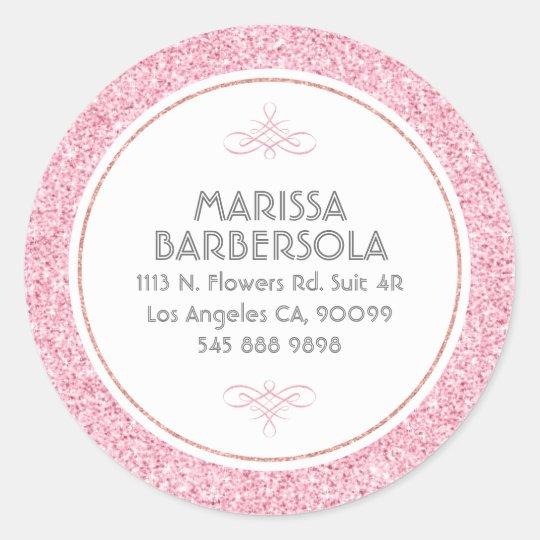 Pink Glitter White Circle Modern Design Classic Round