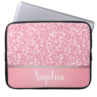 Pink Glitter White Sparks With Monogram Laptop Sleeve