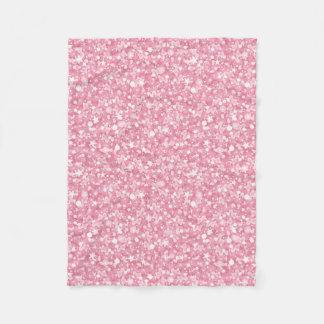 Pink Glitter White Stars And Dots Fleece Blanket