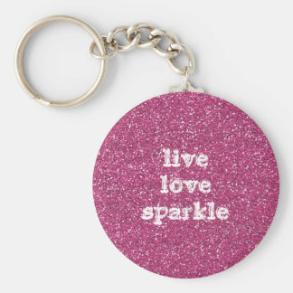 Pink Glitter with Live Love Sparkle Quote Basic Round Button Key Ring
