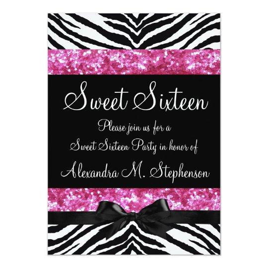 Pink Glitter Zebra Bow Sweet Sixteen Card