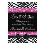 Pink Glitter Zebra Bow Sweet Sixteen Personalized Invitation