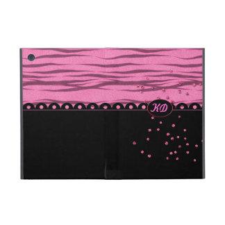 Pink Glitter Zebra - Customize Monogram Cover For iPad Mini