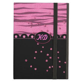 Pink Glitter Zebra - Customize Monogram iPad Folio Cases