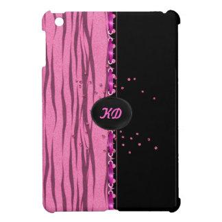 Pink Glitter Zebra - Customize Monogram iPad Mini Case