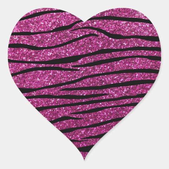 Pink glitter zebra stripes heart sticker
