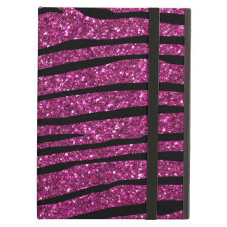 Pink glitter zebra stripes iPad air cover