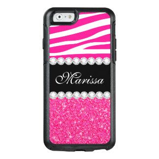 Pink Glitter Zebra White OtterBox iPhone 6/6s Case