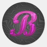 Pink Glittery Initial - B Round Stickers