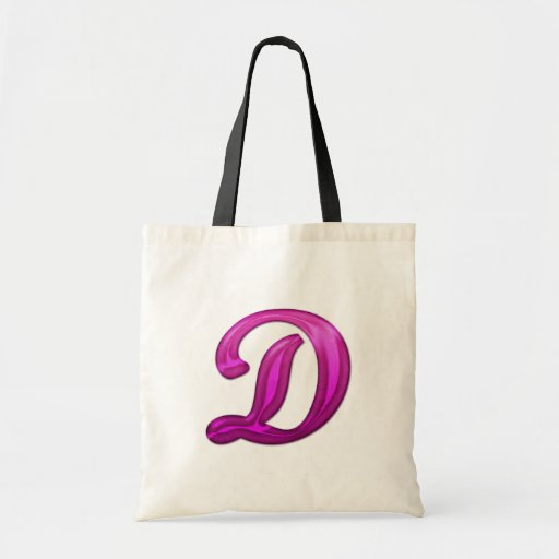 Pink Glittery Initial - D Budget Tote Bag