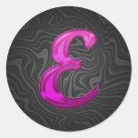 Pink Glittery Initial - E Round Sticker