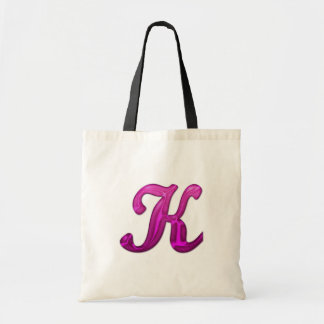 Pink Glittery Initial - K Budget Tote Bag