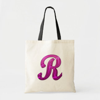 Pink Glittery Initial - R Tote Bags