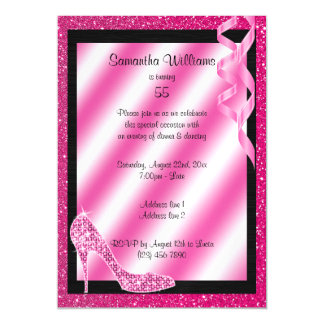 Pink Glittery Stiletto & Streamers 55th Birthday Magnetic Card
