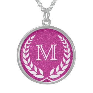 Pink Glitz Wreath Frame Monogram Sterling Silver Necklace
